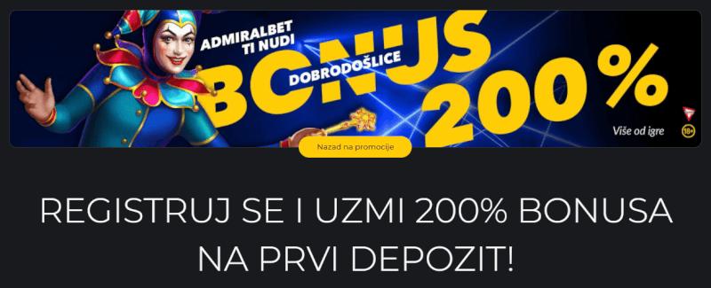 AdmiralBet bonus dobrodošlice